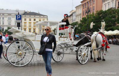 Dorożki w Krakowie na Rynku Głównym